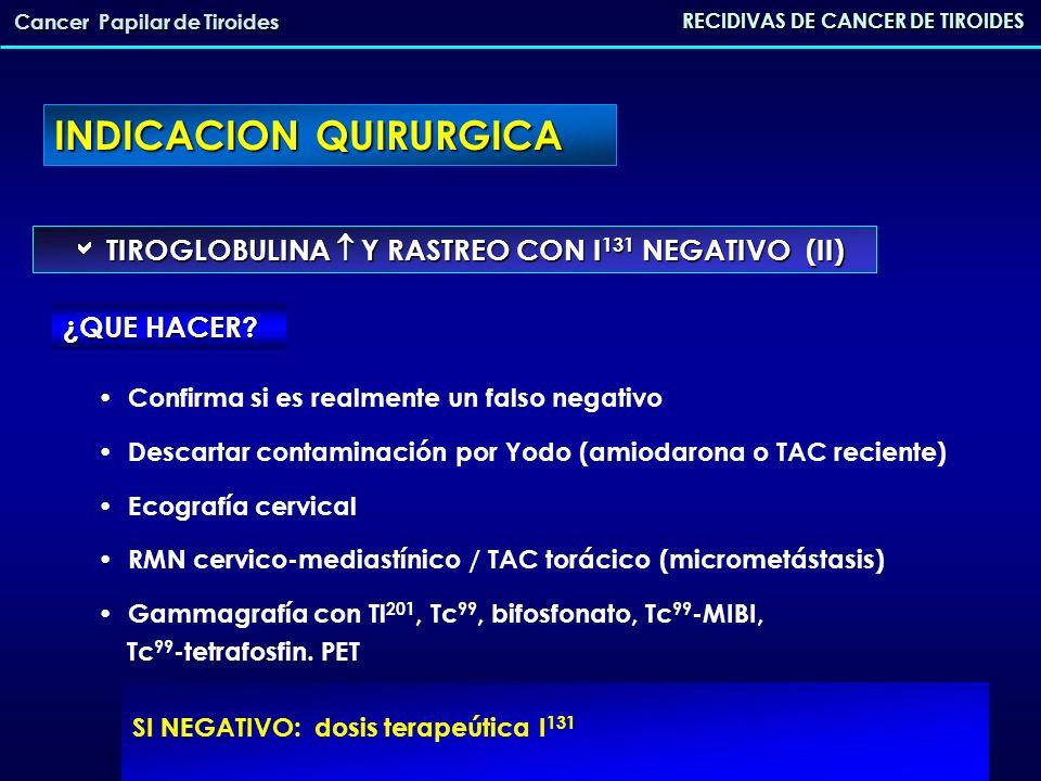 INDICACION QUIRURGICA RECIDIVAS DE CANCER DE TIROIDES Cancer Papilar de Tiroides PRUEBAS DE IMAGEN POSITIVAS PRUEBAS DE IMAGEN POSITIVAS 1.- Sobre el lecho tiroideo 2.- Adenopatías cervicales 3.- Enfermedad metastásica: - si lesión única - no resecable 4.- Metástasis óseas CIRUGÍA + I 131 I 131 I 131 I 131 + RT externa + Qx.ortopédica
