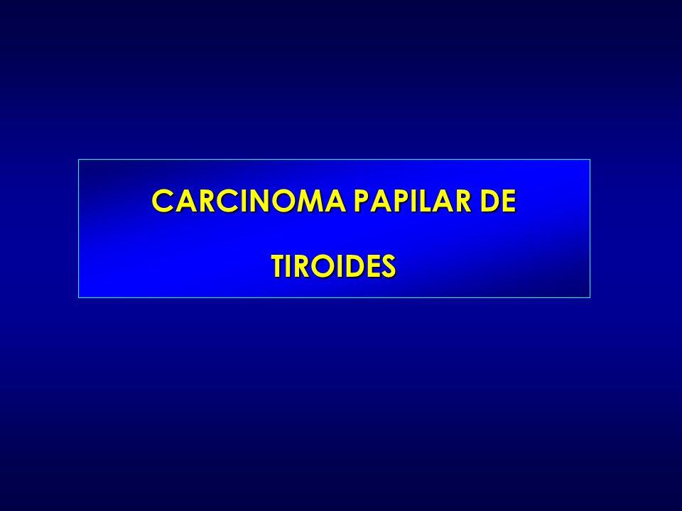 CÁNCER PAPILAR DE TIROIDES (CPT) Es el tumor tiroideo más frecuente Habitualmente buen pronóstico 5-30% recidivas (15% fallecen) 2/3 presentan recurrencias en los 10 primeros años 20% recidiva o metastasis a distancia RECIDIVAS DE CANCER DE TIROIDES Cancer Papilar de Tiroides