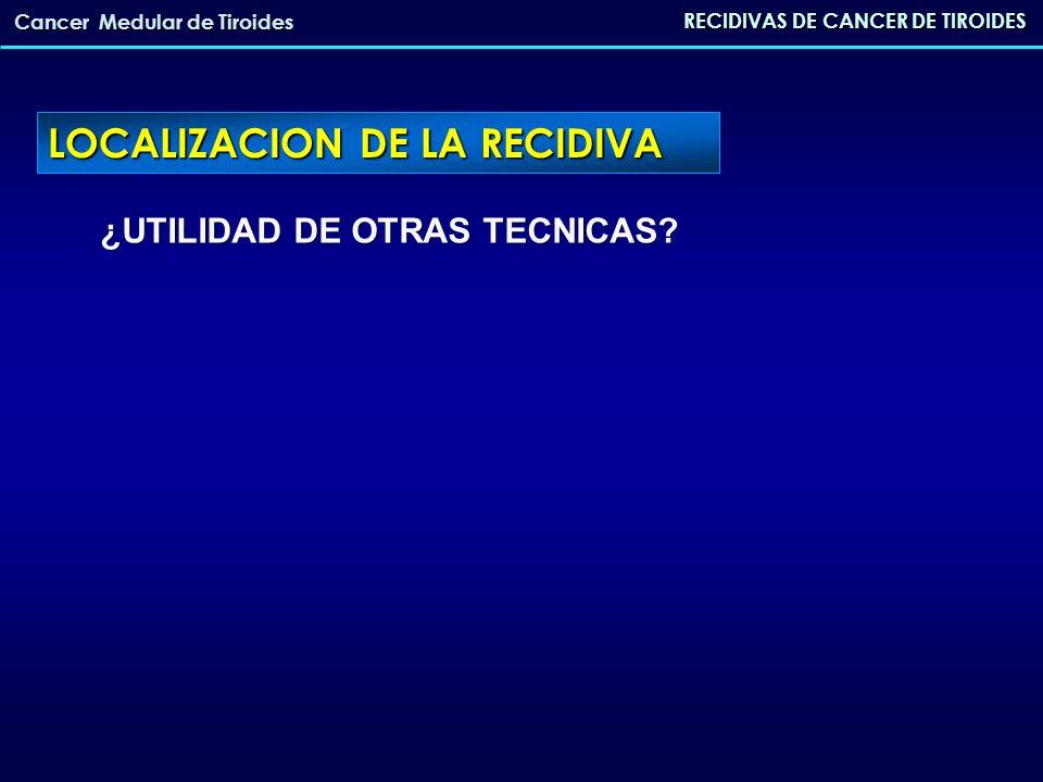 ¿UTILIDAD DE OTRAS TECNICAS? RECIDIVAS DE CANCER DE TIROIDES Cancer Medular de Tiroides LOCALIZACION DE LA RECIDIVA