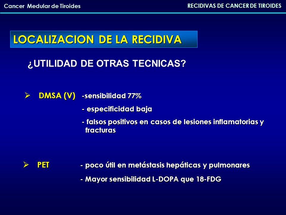DMSA (V) -sensibilidad 77% DMSA (V) -sensibilidad 77% - especificidad baja - falsos positivos en casos de lesiones inflamatorias y fracturas ¿UTILIDAD