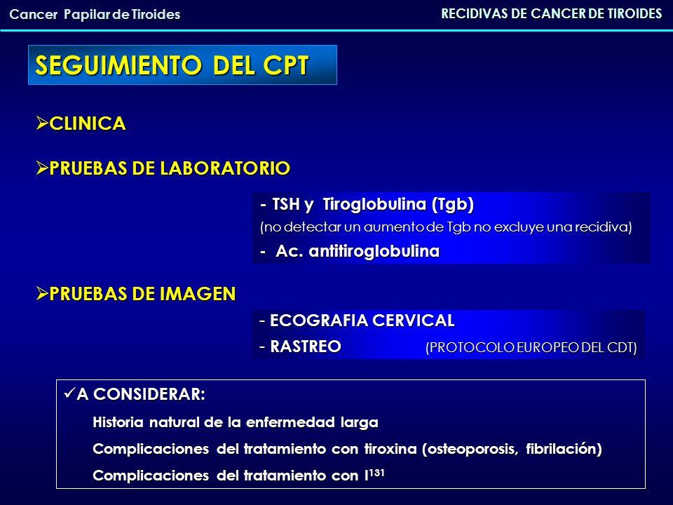 LOCALIZACION RECIDIVAS CPT RECIDIVAS DE CANCER DE TIROIDES Cancer Papilar de Tiroides LOCAL (30% pacientes de alto riesgo) LOCAL (30% pacientes de alto riesgo) DEPENDE: - extensión de la cirugía - multicentricidad - multicentricidad - invasión extracapsular - invasión extracapsular GANGLIONAR la mas frecuente GANGLIONAR la mas frecuente - COMPARTIMENTO CENTRAL (afectacion 75%; estudios positivos 25%) - COMPARTIMENTO LATERAL (afectacion 35-50%: solo lateral 10-20%) No qx.