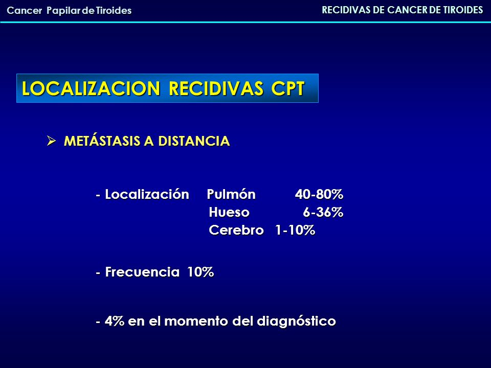 LOCALIZACION RECIDIVAS CPT RECIDIVAS DE CANCER DE TIROIDES Cancer Papilar de Tiroides METÁSTASIS A DISTANCIA METÁSTASIS A DISTANCIA - Localización Pul
