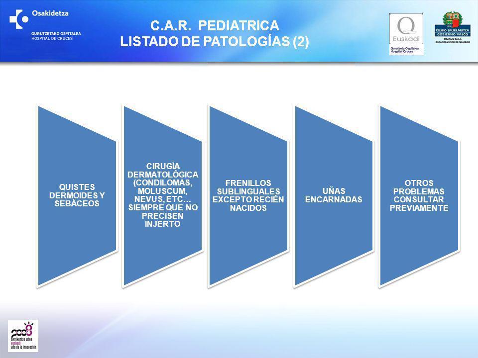 C.A.R. PEDIATRICA LISTADO DE PATOLOGÍAS (2) QUISTES DERMOIDES Y SEBÁCEOS CIRUGÍA DERMATOLÓGICA (CONDILOMAS, MOLUSCUM, NEVUS, ETC… SIEMPRE QUE NO PRECI