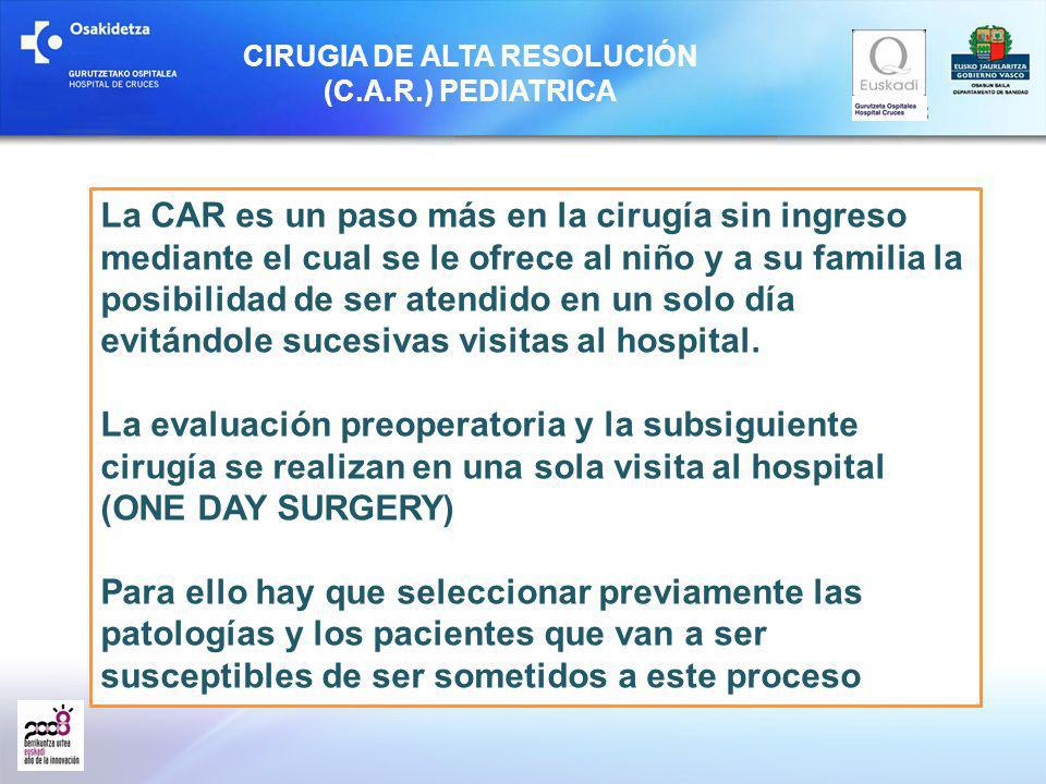 CIRUGIA DE ALTA RESOLUCIÓN (C.A.R.) PEDIATRICA La CAR es un paso más en la cirugía sin ingreso mediante el cual se le ofrece al niño y a su familia la