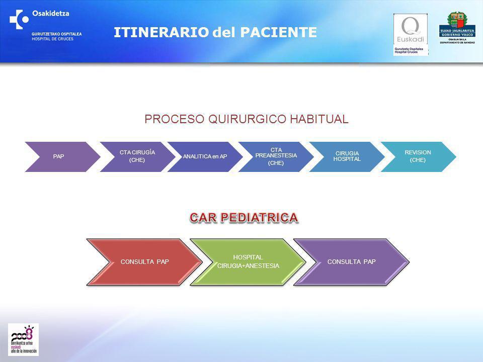 PAP CTA CIRUGÍA (CHE) ANALITICA en AP CTA PREANESTESIA (CHE) CIRUGIA HOSPITAL REVISION (CHE) ITINERARIO del PACIENTE PROCESO QUIRURGICO HABITUAL CONSU