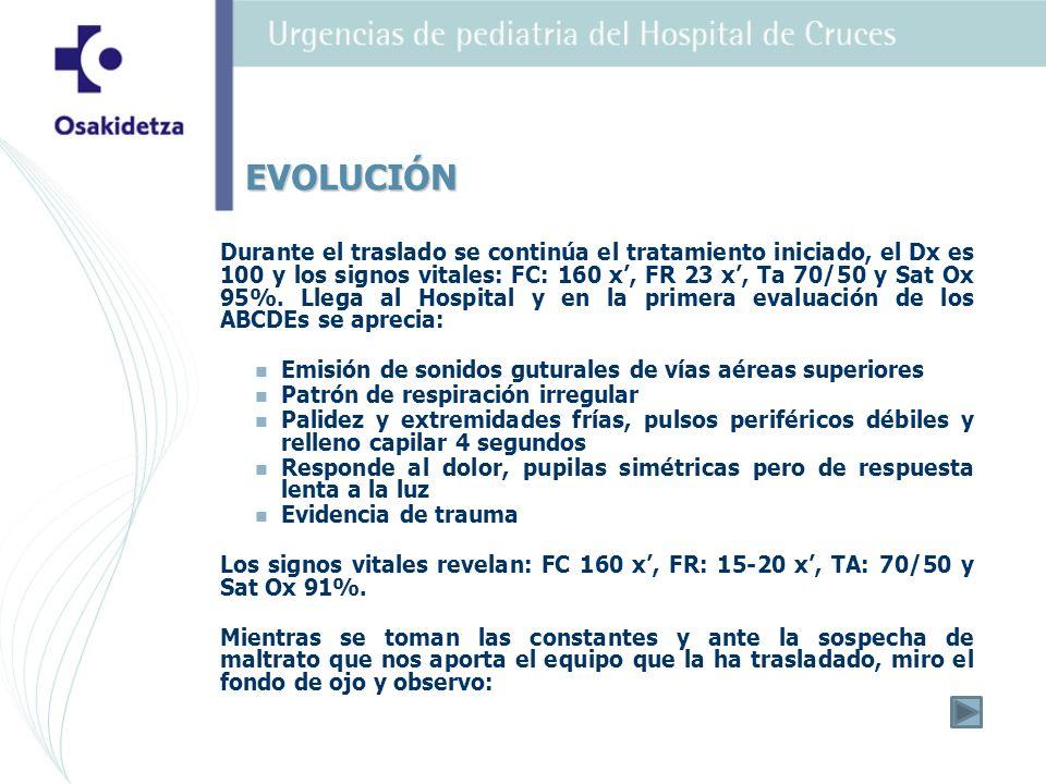 Durante el traslado se continúa el tratamiento iniciado, el Dx es 100 y los signos vitales: FC: 160 x, FR 23 x, Ta 70/50 y Sat Ox 95%.