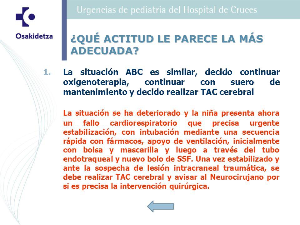 1. 1.La situación ABC es similar, decido continuar oxigenoterapia, continuar con suero de mantenimiento y decido realizar TAC cerebral La situación se