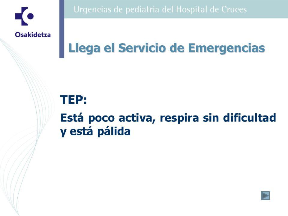 TEP: Está poco activa, respira sin dificultad y está pálida Llega el Servicio de Emergencias