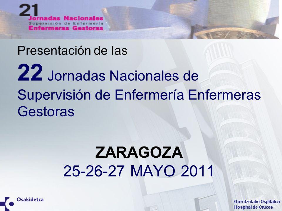 Gurutzetako Ospitalea Hospital de Cruces Presentación de las 22 Jornadas Nacionales de Supervisión de Enfermería Enfermeras Gestoras ZARAGOZA 25-26-27