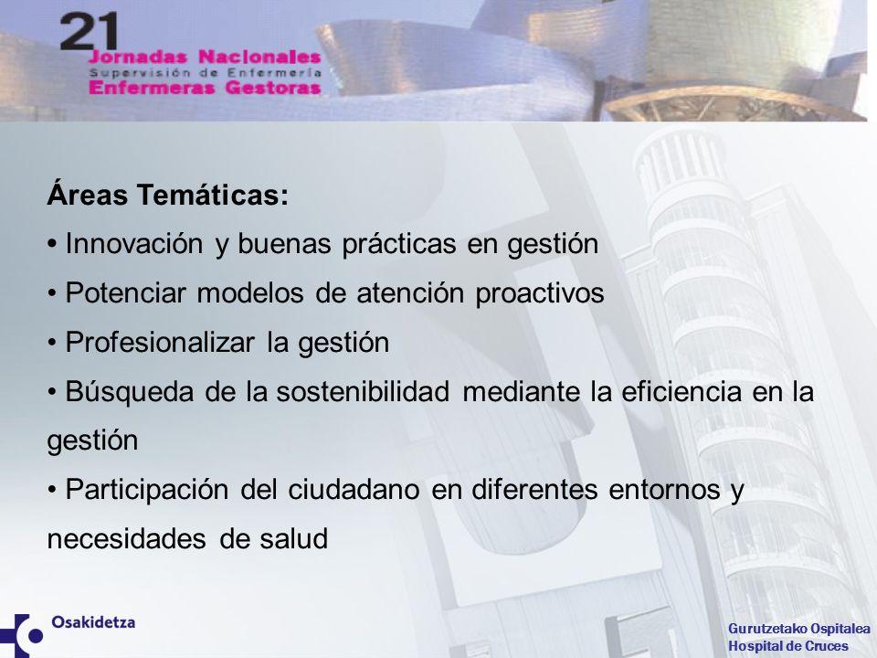 Gurutzetako Ospitalea Hospital de Cruces Áreas Temáticas: Innovación y buenas prácticas en gestión Potenciar modelos de atención proactivos Profesiona