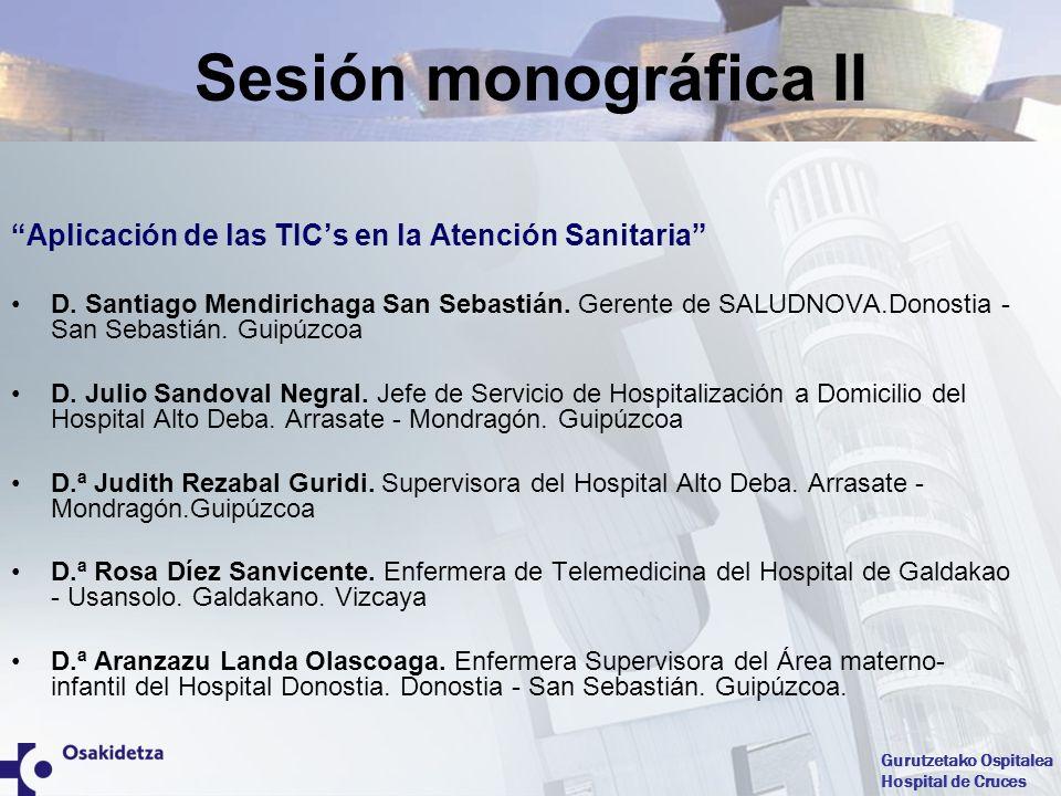 Gurutzetako Ospitalea Hospital de Cruces Sesión monográfica II Aplicación de las TICs en la Atención Sanitaria D. Santiago Mendirichaga San Sebastián.