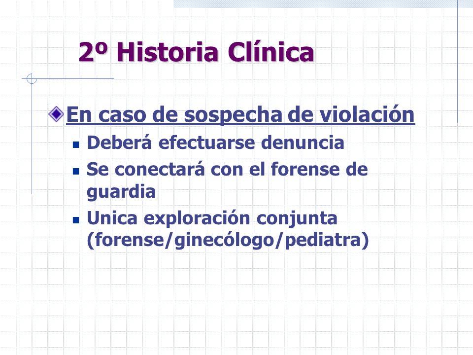 2º Historia Clínica En caso de sospecha de violación Deberá efectuarse denuncia Se conectará con el forense de guardia Unica exploración conjunta (for