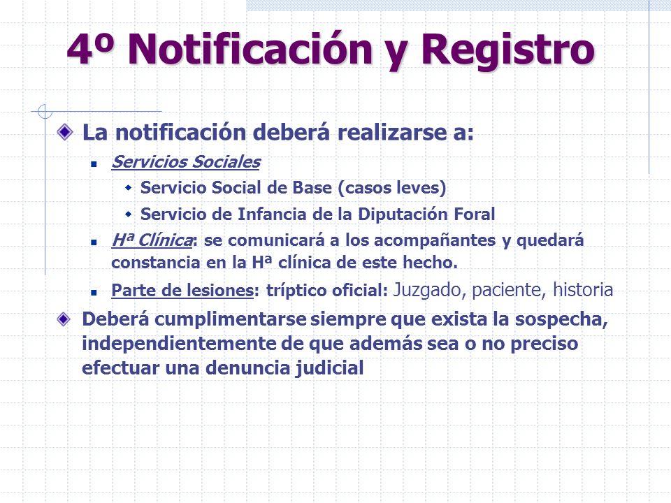 4º Notificación y Registro La notificación deberá realizarse a: Servicios Sociales Servicio Social de Base (casos leves) Servicio de Infancia de la Di