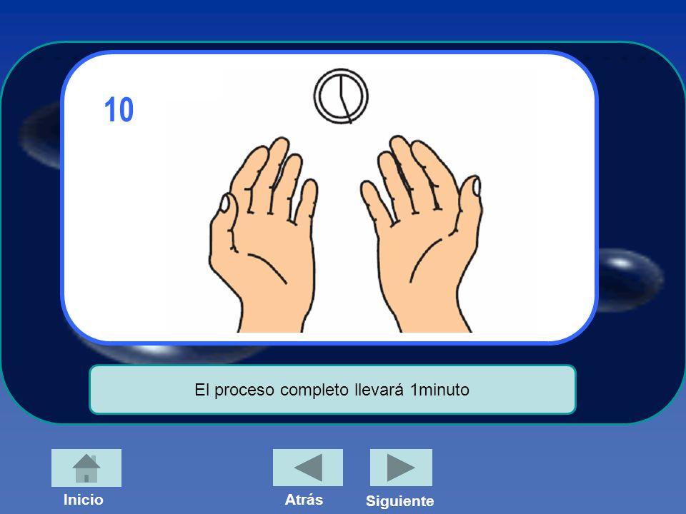 InicioAtrás Siguiente 10 El proceso completo llevará 1minuto