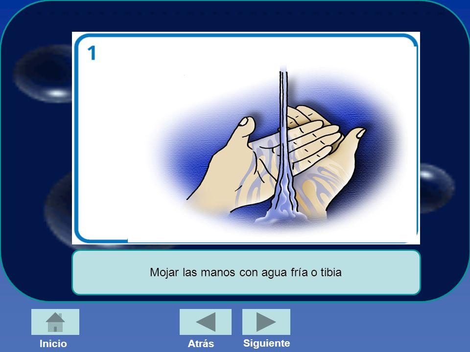 InicioAtrás Siguiente Mojar las manos con agua fría o tibia