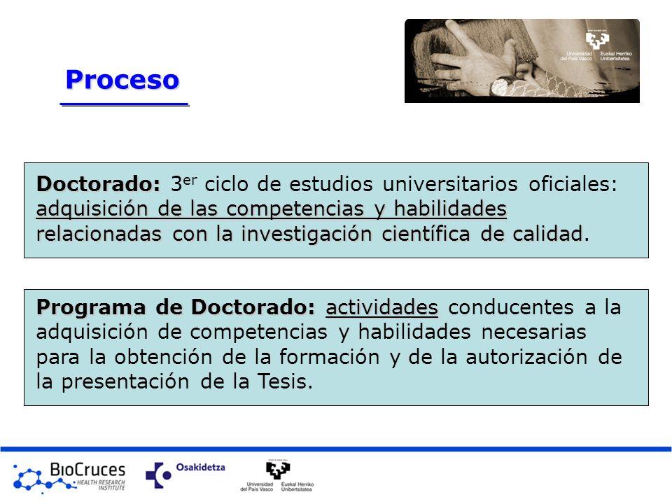 Doctorado: adquisición de las competencias y habilidades relacionadas con la investigación científica de calidad Doctorado: 3 er ciclo de estudios uni
