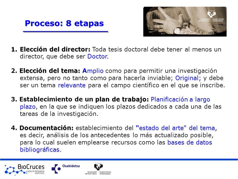 1.Elección del director: Doctor. 1.Elección del director: Toda tesis doctoral debe tener al menos un director, que debe ser Doctor. Elección del tema: