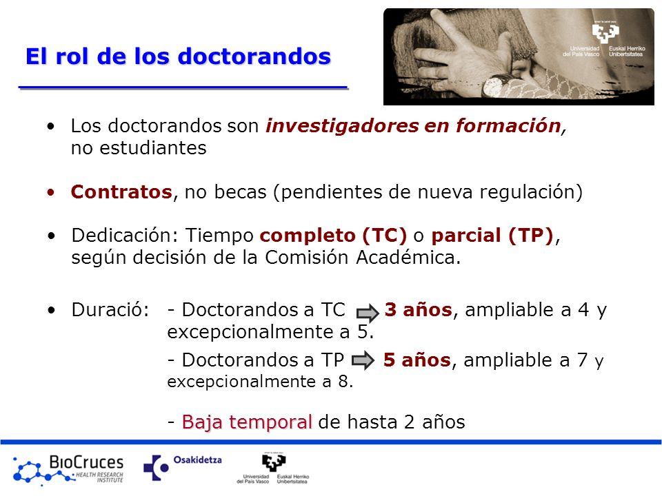 Los doctorandos son investigadores en formación, no estudiantes Contratos, no becas (pendientes de nueva regulación) Dedicación: Tiempo completo (TC)