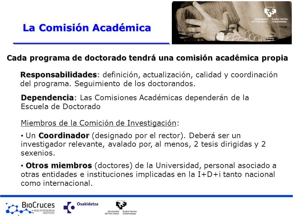 Responsabilidades: Responsabilidades: definición, actualización, calidad y coordinación del programa. Seguimiento de los doctorandos. Cada programa de