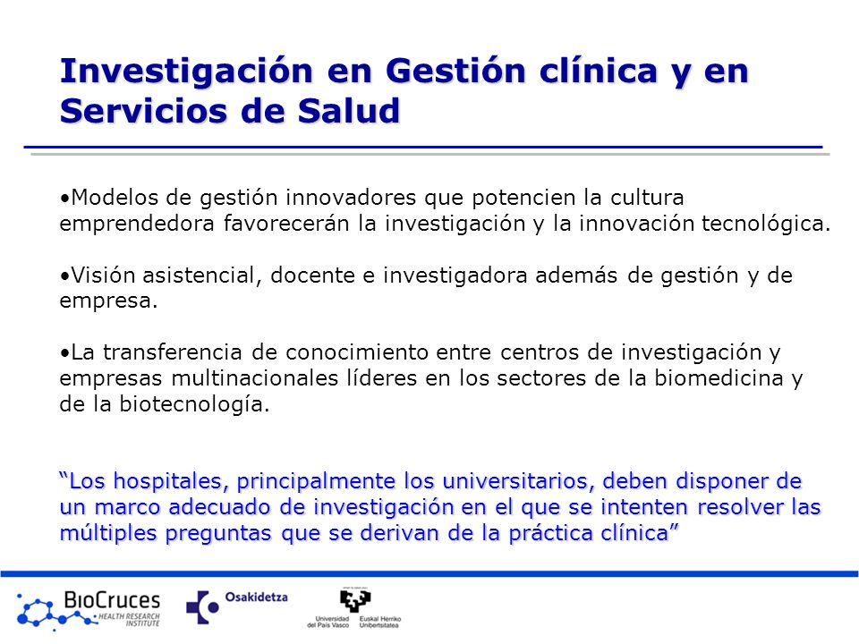 Investigación en Gestión clínica y en Servicios de Salud Modelos de gestión innovadores que potencien la cultura emprendedora favorecerán la investiga