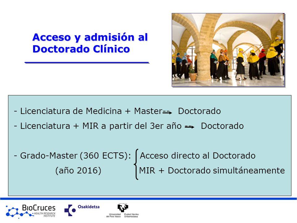 - Licenciatura de Medicina + Master-- Doctorado - Licenciatura + MIR a partir del 3er año -- Doctorado - Grado-Master (360 ECTS): Acceso directo al Do