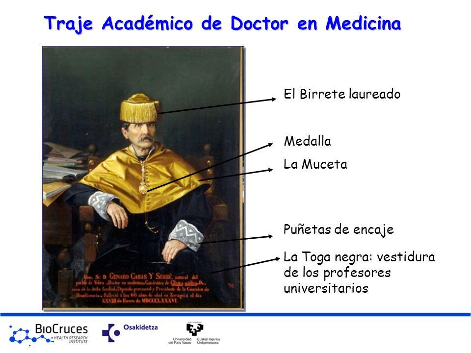 Traje Académico de Doctor en Medicina La Toga negra: vestidura de los profesores universitarios Puñetas de encaje La Muceta El Birrete laureado Medall