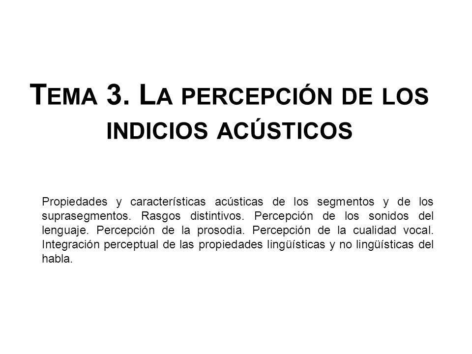 T EMA 3. L A PERCEPCIÓN DE LOS INDICIOS ACÚSTICOS Propiedades y características acústicas de los segmentos y de los suprasegmentos. Rasgos distintivos