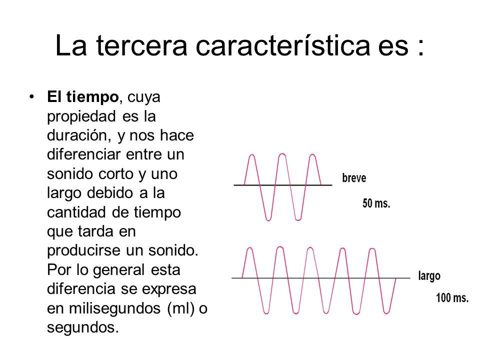 La tercera característica es : El tiempo, cuya propiedad es la duración, y nos hace diferenciar entre un sonido corto y uno largo debido a la cantidad