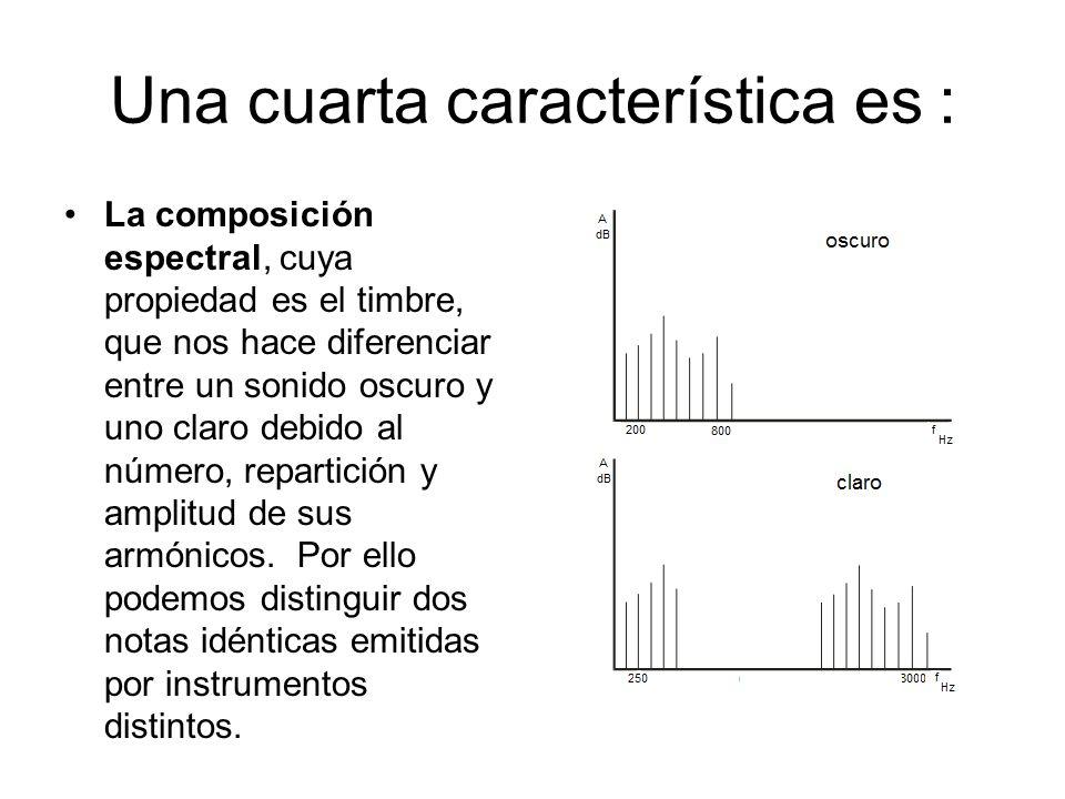 Una cuarta característica es : La composición espectral, cuya propiedad es el timbre, que nos hace diferenciar entre un sonido oscuro y uno claro debi