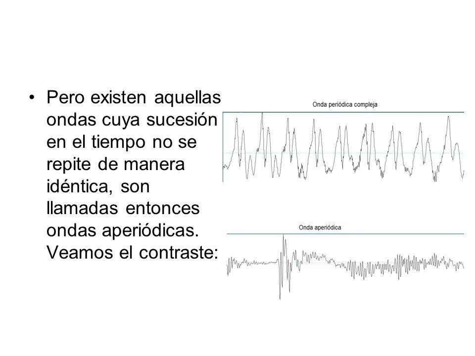 Pero existen aquellas ondas cuya sucesión en el tiempo no se repite de manera idéntica, son llamadas entonces ondas aperiódicas. Veamos el contraste: