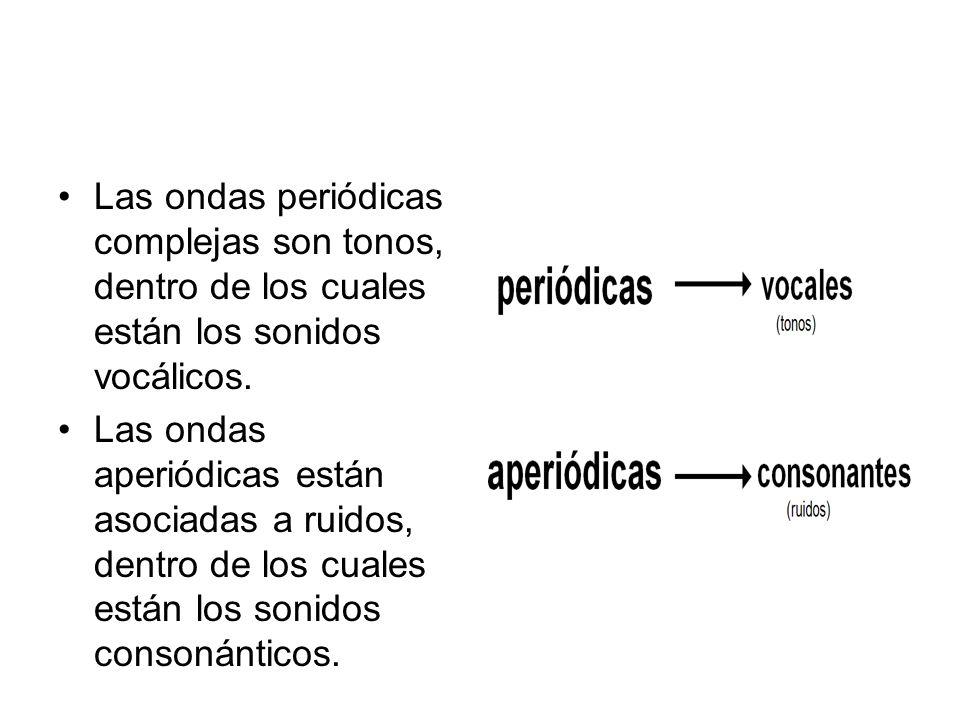 Las ondas periódicas complejas son tonos, dentro de los cuales están los sonidos vocálicos. Las ondas aperiódicas están asociadas a ruidos, dentro de