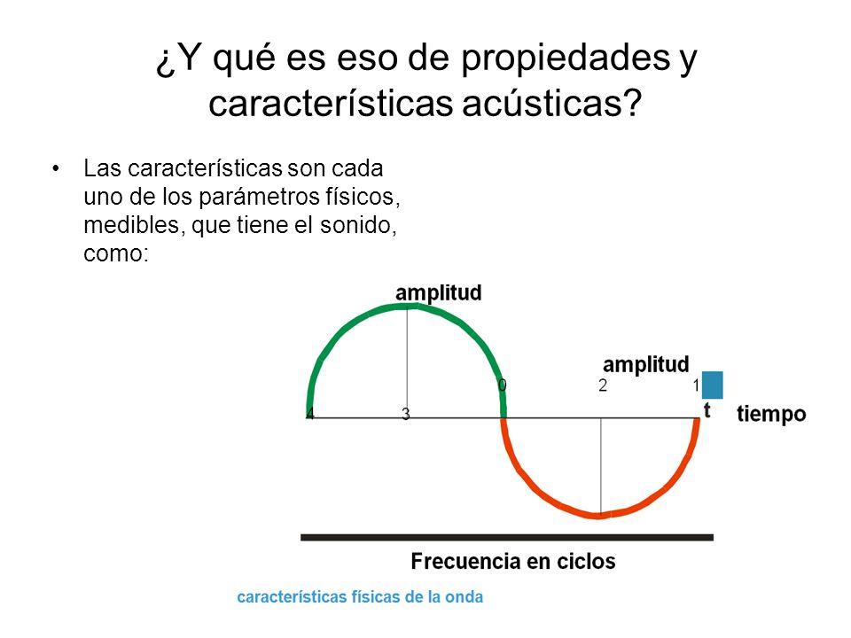 ¿Y qué es eso de propiedades y características acústicas? Las características son cada uno de los parámetros físicos, medibles, que tiene el sonido, c