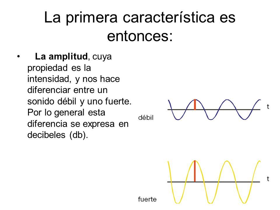 La primera característica es entonces: La amplitud, cuya propiedad es la intensidad, y nos hace diferenciar entre un sonido débil y uno fuerte. Por lo