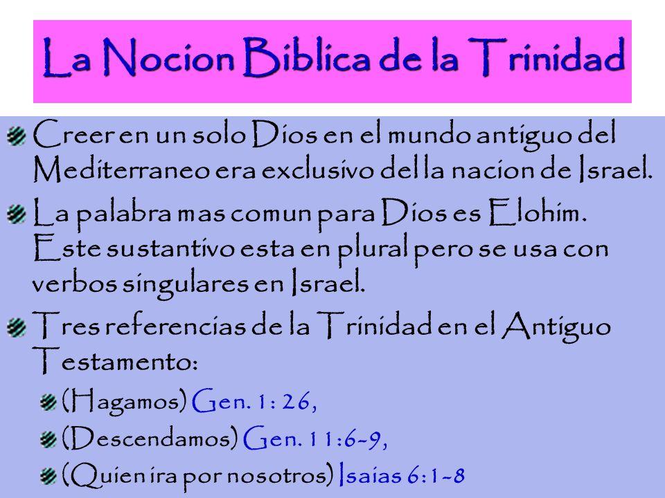 La Nocion Biblica de la Trinidad Creer en un solo Dios en el mundo antiguo del Mediterraneo era exclusivo del la nacion de Israel. La palabra mas comu