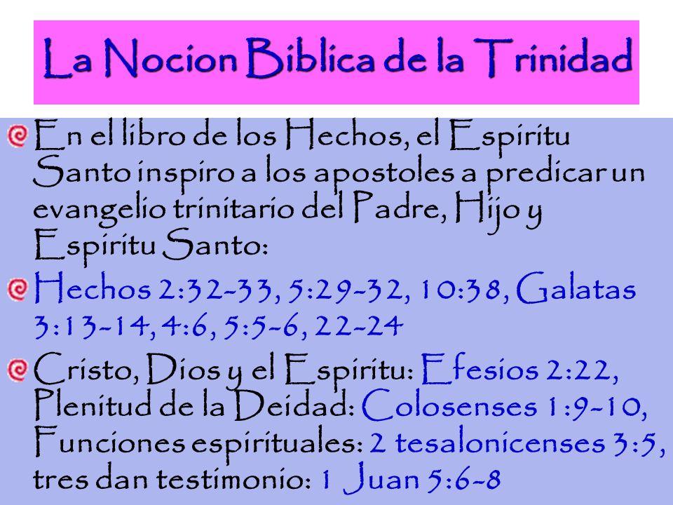 La Nocion Biblica de la Trinidad En el libro de los Hechos, el Espiritu Santo inspiro a los apostoles a predicar un evangelio trinitario del Padre, Hi