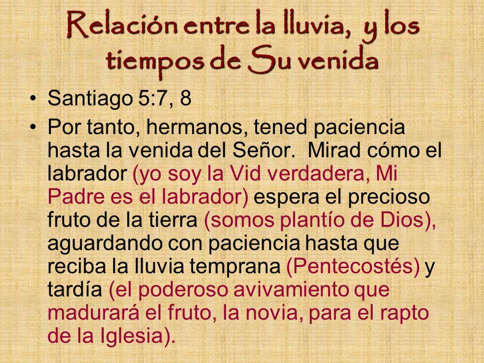 Relación entre la lluvia, y los tiempos de Su venida Santiago 5:7, 8 Por tanto, hermanos, tened paciencia hasta la venida del Señor. Mirad cómo el lab