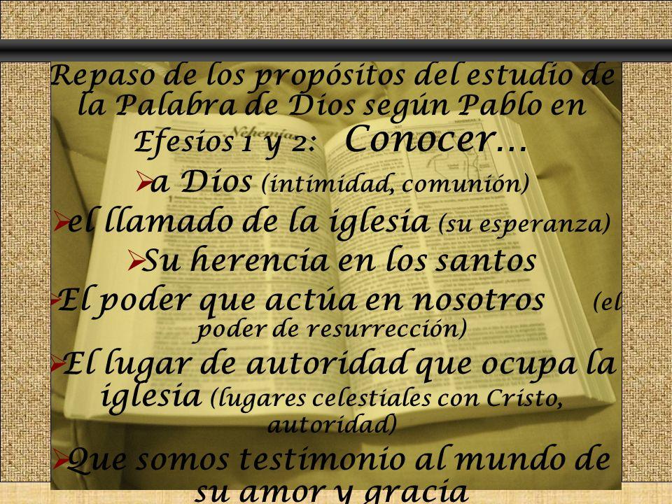 Repaso de los propósitos del estudio de la Palabra de Dios según Pablo en Efesios 1 y 2: Conocer… a Dios (intimidad, comunión) el llamado de la iglesi