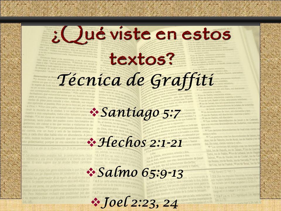 ¿Qué viste en estos textos? Técnica de Graffiti Santiago 5:7 Hechos 2:1-21 Salmo 65:9-13 Joel 2:23, 24