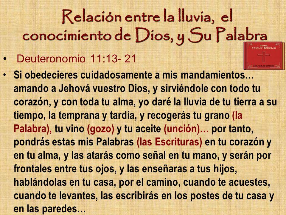 Relación entre la lluvia, el conocimiento de Dios, y Su Palabra Deuteronomio 11:13- 21 Si obedecieres cuidadosamente a mis mandamientos… amando a Jeho