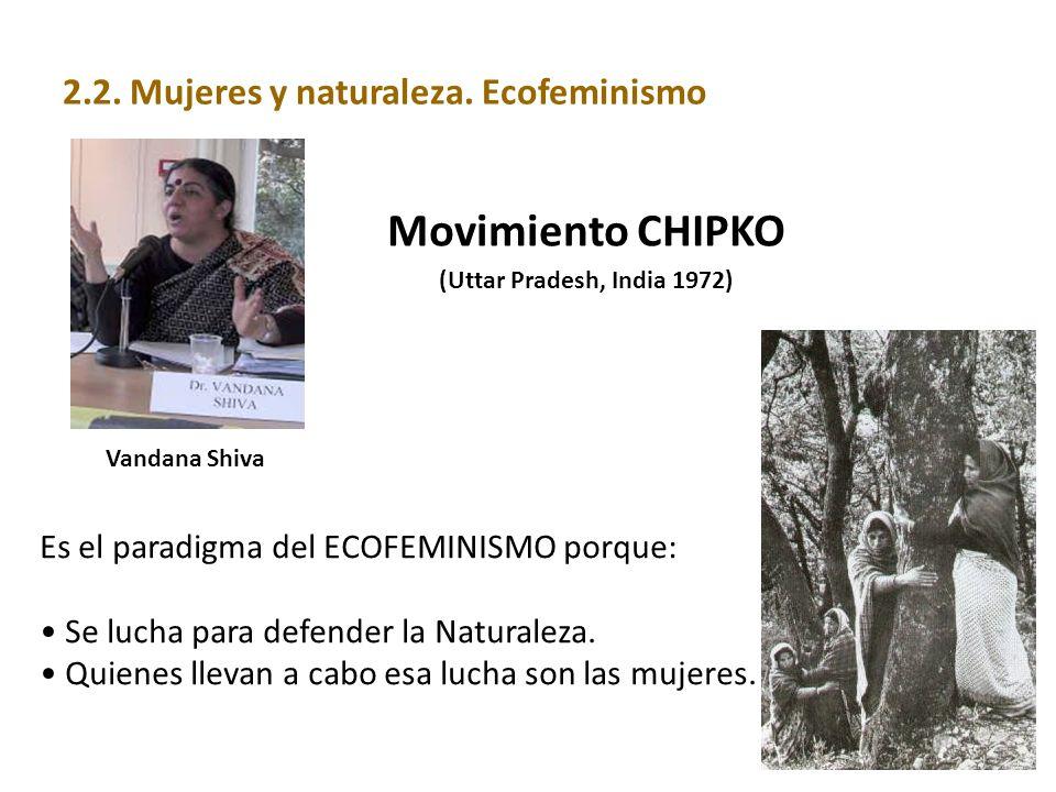 Vandana Shiva Movimiento CHIPKO (Uttar Pradesh, India 1972) Es el paradigma del ECOFEMINISMO porque: Se lucha para defender la Naturaleza. Quienes lle