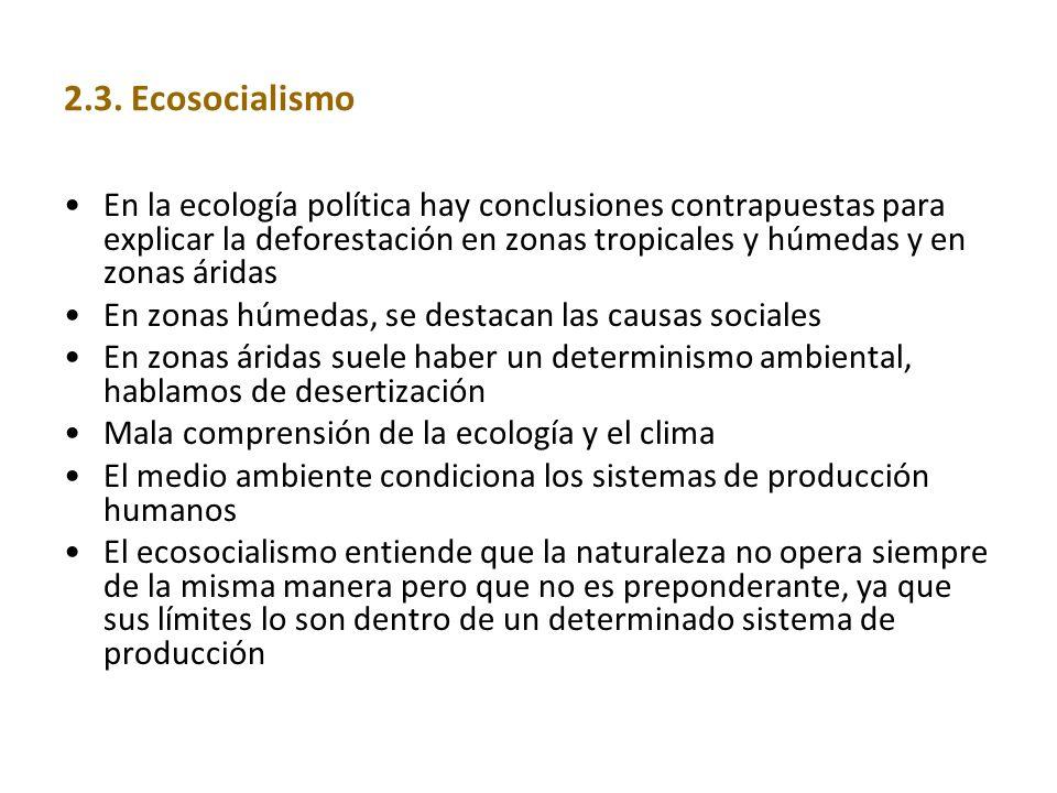 2.3. Ecosocialismo En la ecología política hay conclusiones contrapuestas para explicar la deforestación en zonas tropicales y húmedas y en zonas árid