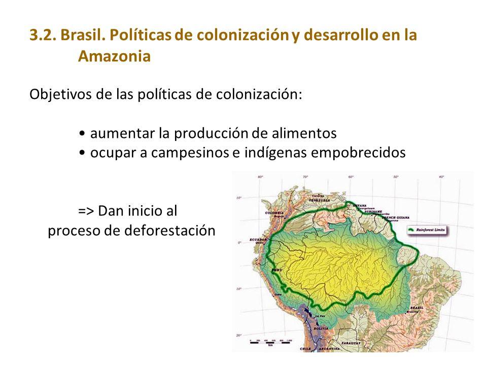 3.2. Brasil. Políticas de colonización y desarrollo en la Amazonia Objetivos de las políticas de colonización: aumentar la producción de alimentos ocu