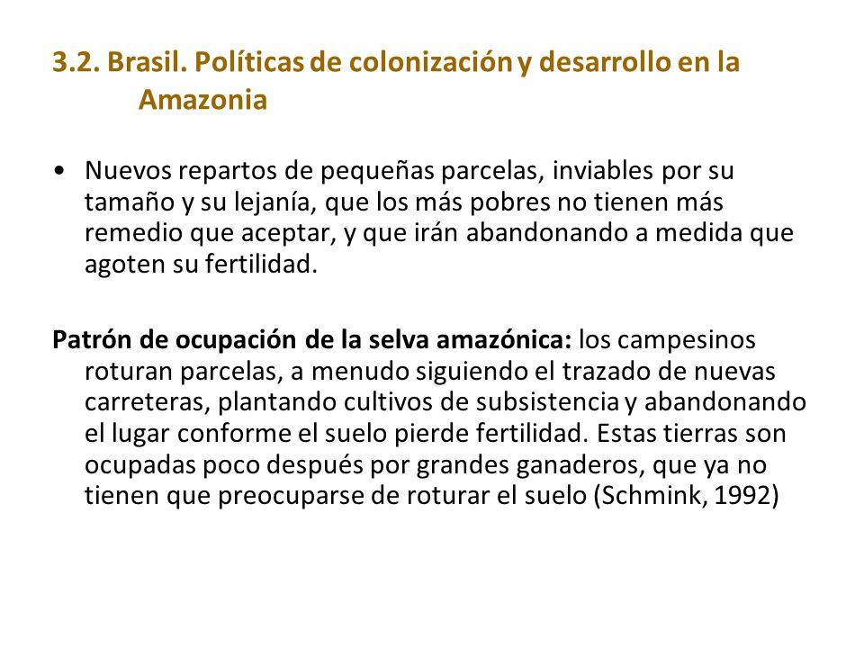3.2. Brasil. Políticas de colonización y desarrollo en la Amazonia Nuevos repartos de pequeñas parcelas, inviables por su tamaño y su lejanía, que los