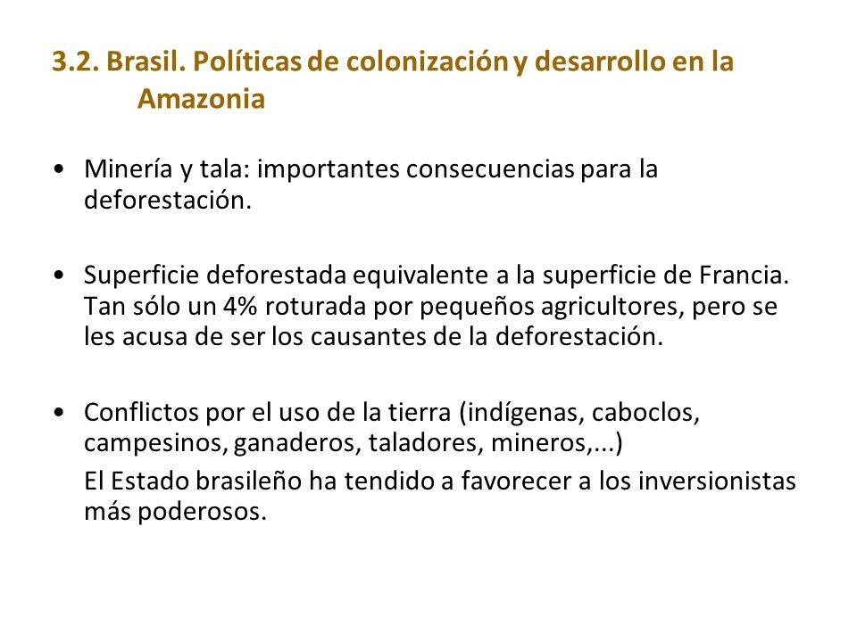 3.2. Brasil. Políticas de colonización y desarrollo en la Amazonia Minería y tala: importantes consecuencias para la deforestación. Superficie defores