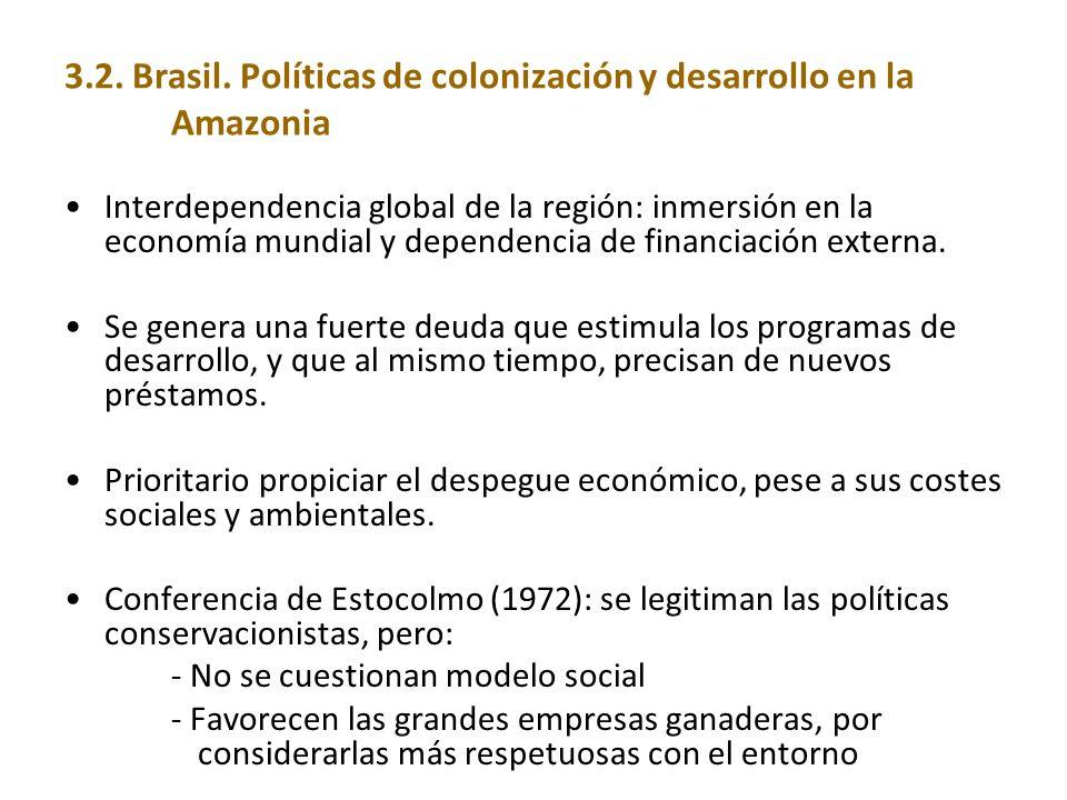 3.2. Brasil. Políticas de colonización y desarrollo en la Amazonia Interdependencia global de la región: inmersión en la economía mundial y dependenci