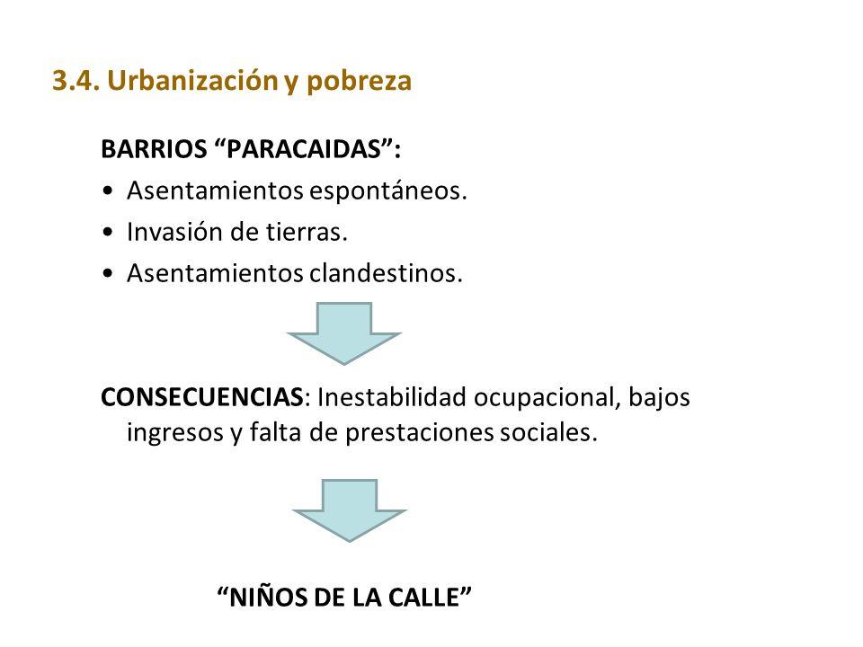 BARRIOS PARACAIDAS: Asentamientos espontáneos. Invasión de tierras. Asentamientos clandestinos. CONSECUENCIAS: Inestabilidad ocupacional, bajos ingres