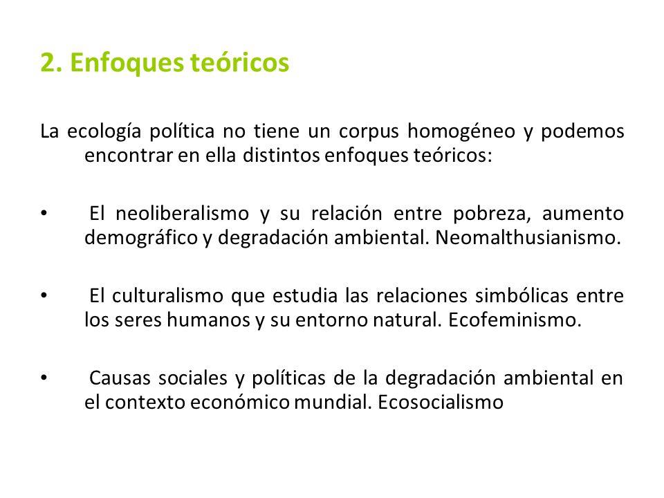 2. Enfoques teóricos La ecología política no tiene un corpus homogéneo y podemos encontrar en ella distintos enfoques teóricos: El neoliberalismo y su