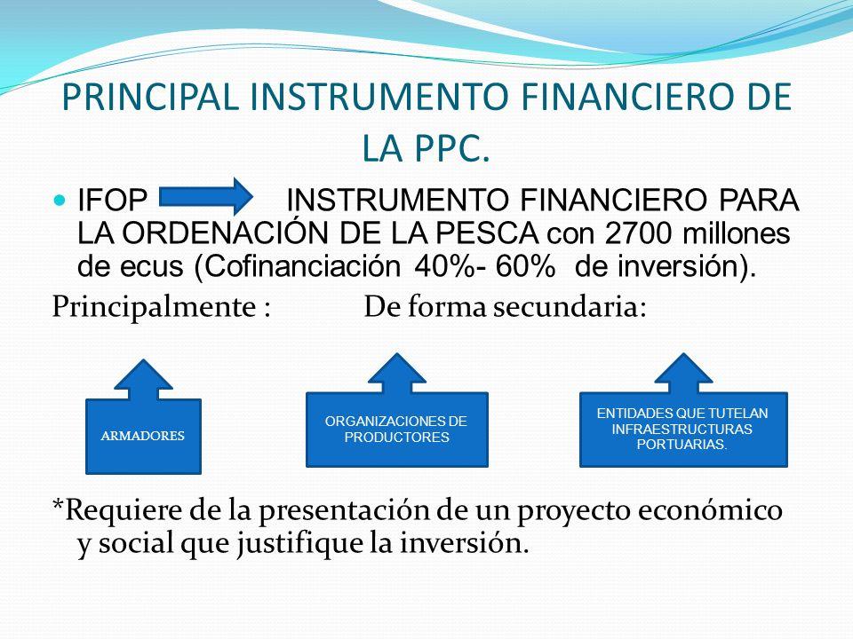 PRINCIPAL INSTRUMENTO FINANCIERO DE LA PPC. IFOP INSTRUMENTO FINANCIERO PARA LA ORDENACIÓN DE LA PESCA con 2700 millones de ecus (Cofinanciación 40%-