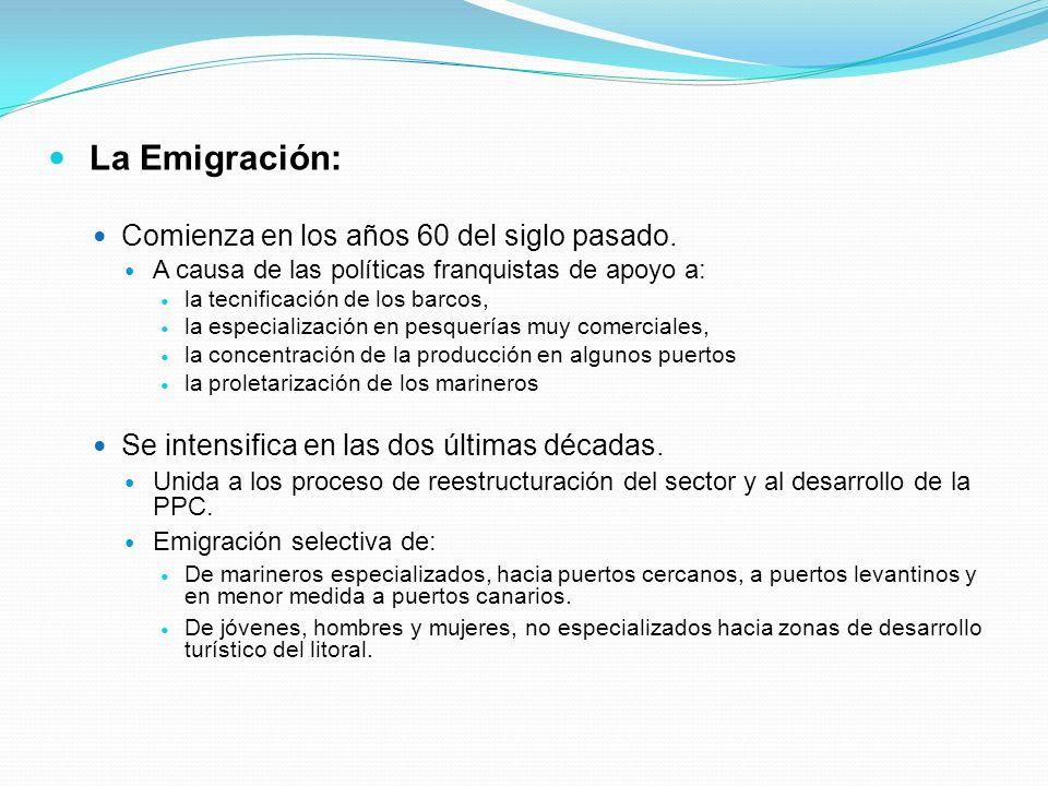 La Emigración: Comienza en los años 60 del siglo pasado. A causa de las políticas franquistas de apoyo a: la tecnificación de los barcos, la especiali