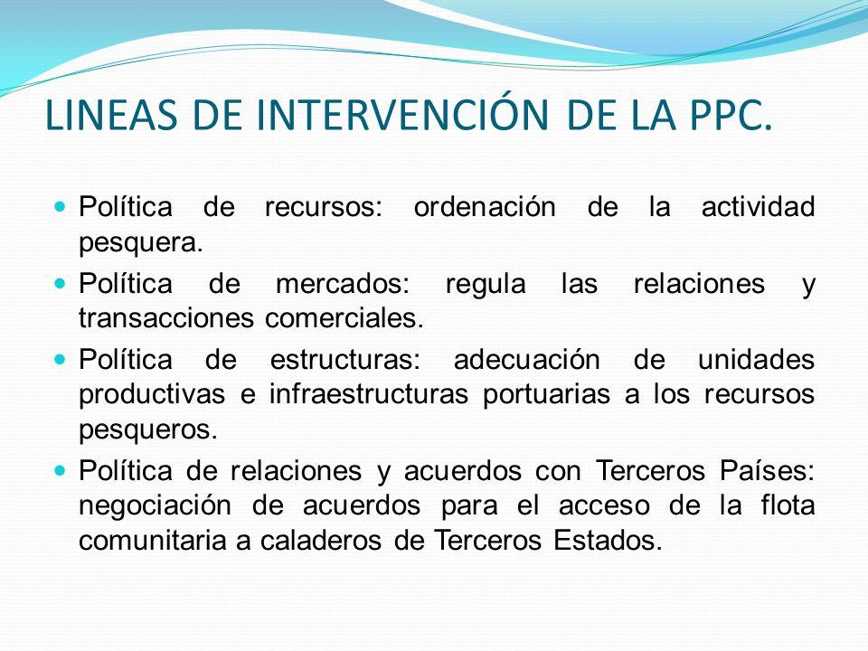 LINEAS DE INTERVENCIÓN DE LA PPC. Política de recursos: ordenación de la actividad pesquera. Política de mercados: regula las relaciones y transaccion
